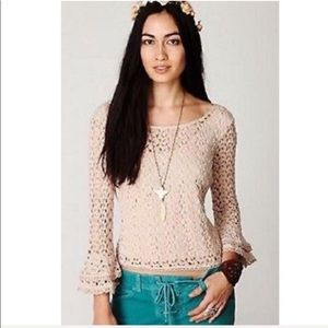 Free People Stretch Lace Top with Ruffle Bell Cuff